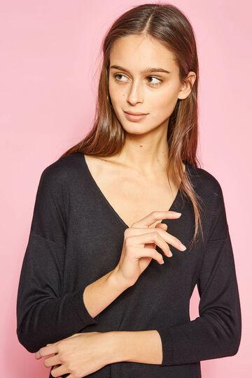 V-neck pullover with ribbing, Black, hi-res