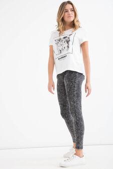 Teen print cotton T-shirt, White, hi-res
