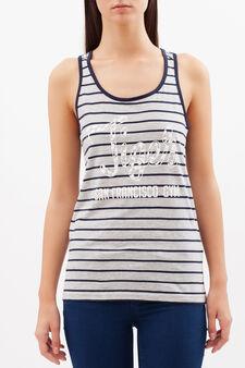Striped vest, Black/Grey, hi-res