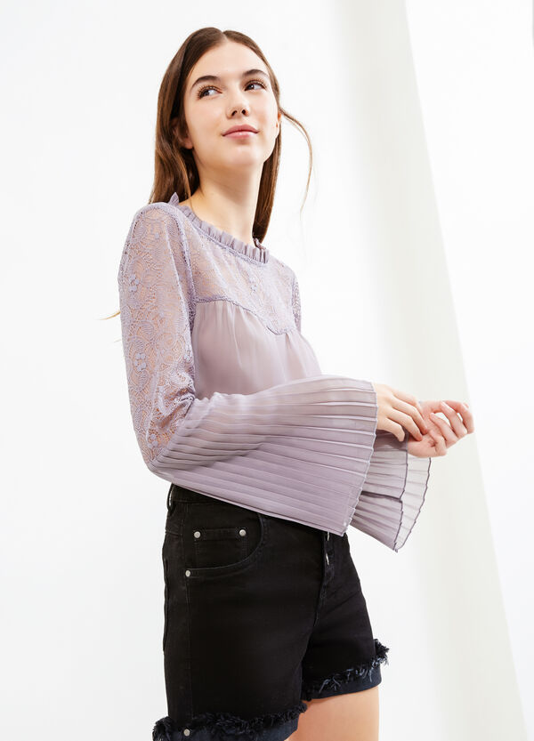 Long-sleeved blouse with lace | OVS