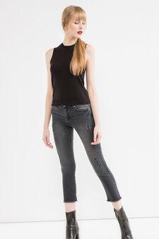 Slim-fit, cropped stretch jeans, Black, hi-res