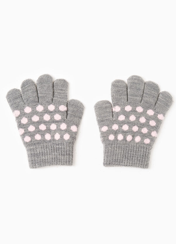 Solid colour gloves with polka dot embroidery | OVS