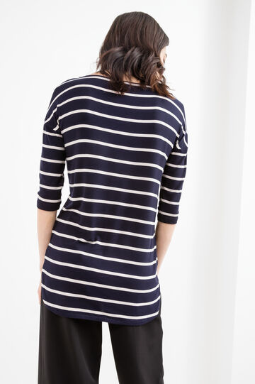 Stretch viscose T-shirt with striped pattern, Blue/Brown, hi-res