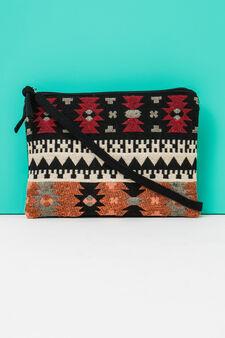 Ethnic patterned shoulder bag, White/Orange, hi-res