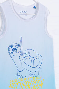 Degradé vest top in 100% cotton, White/Blue, hi-res