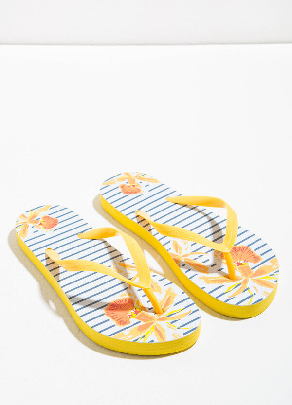 Rubber flip flops with striped pattern | OVS