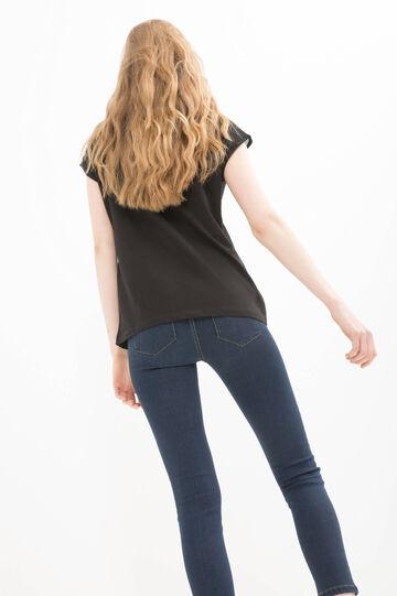 T-shirt puro cotone stampa lettering, Nero, hi-res