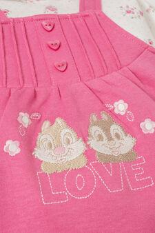 100% cotton embroidered onesie with feet, Fuchsia, hi-res