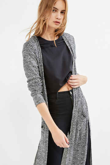 Long viscose cardigan with slits, Grey, hi-res