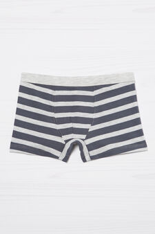 Striped boxers in stretch cotton, Grey Marl, hi-res