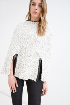 Viscose blend poncho with inserts, White, hi-res