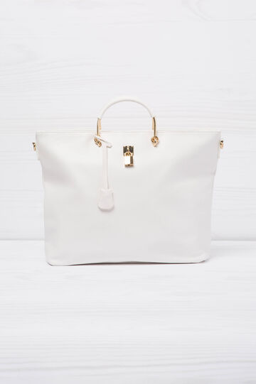 Leather-look bag with lock, White, hi-res