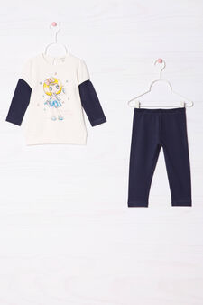 Tracksuit in 100% cotton with print, White/Blue, hi-res