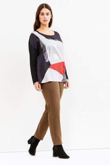 Curvy T-shirt with geometric print
