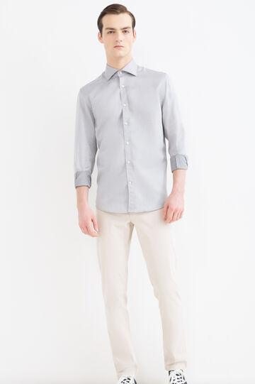 Camicia regular fit in cotone, Grigio, hi-res