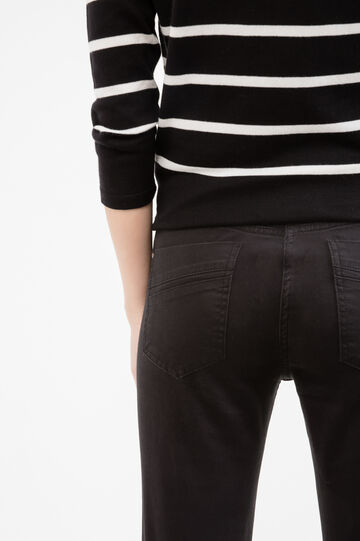 Solid colour slim-fit cotton trousers, Black, hi-res