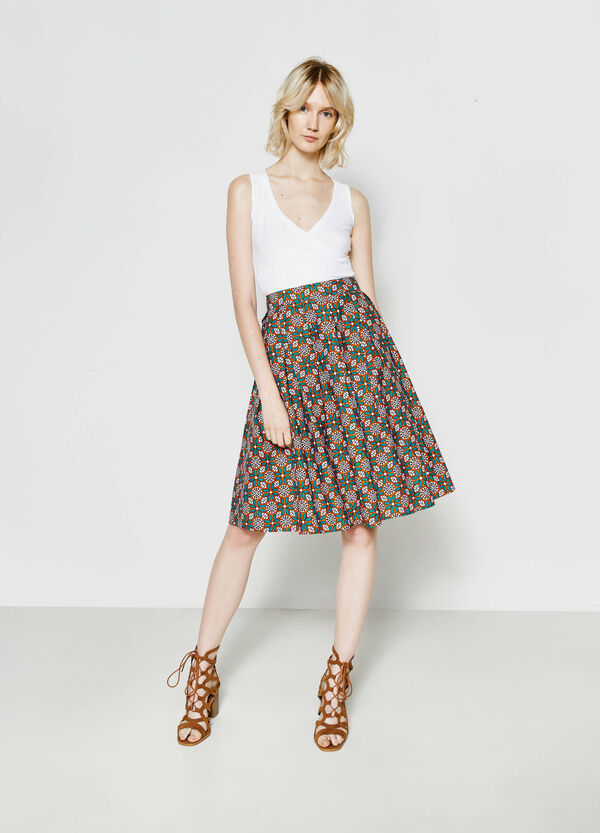 Full skirt in patterned cotton | OVS