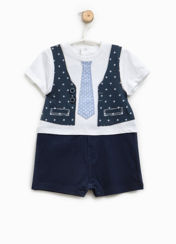 Romper suit with tie and waistcoat print | OVS
