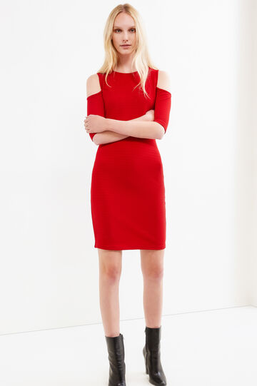 Solid colour stretch dress with striped weave, Red, hi-res