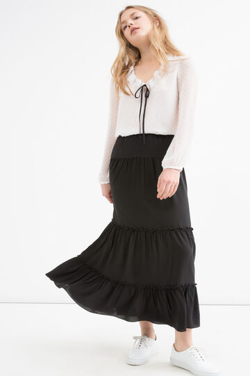 Long stretch skirt, Black, hi-res