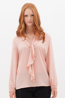 Curvyglam blouse with scarf collar, Salmon, hi-res