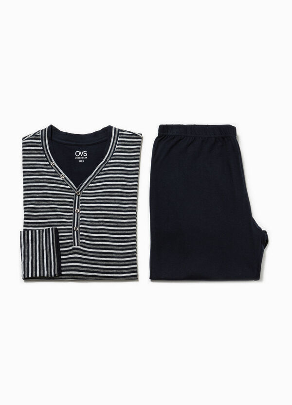 V-neck pyjamas in 100% striped cotton | OVS