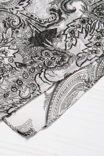 Sciarpa con stampa paisley, Bianco/Nero, hi-res