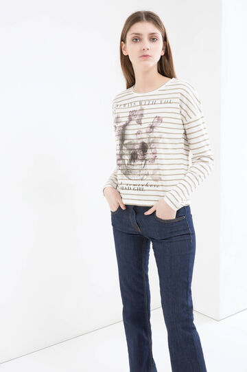 Striped, 100% cotton T-shirt, White/Grey, hi-res