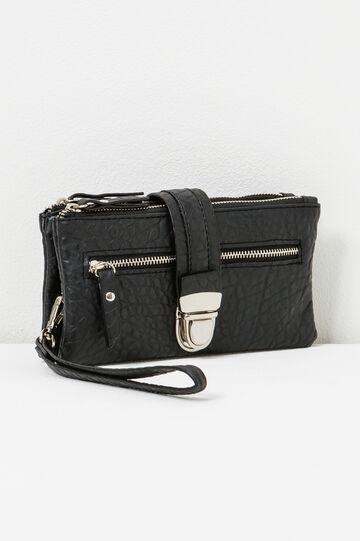 Textured wallet with strap, Black, hi-res