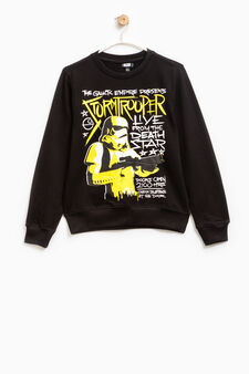 100% cotton sweatshirt with Star Wars print, Black, hi-res