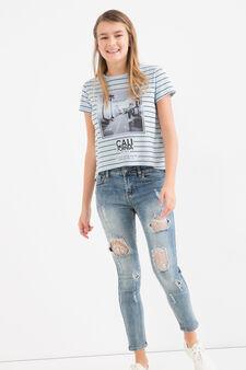 T-shirt cotone fantasia righe Teen, Azzurro, hi-res
