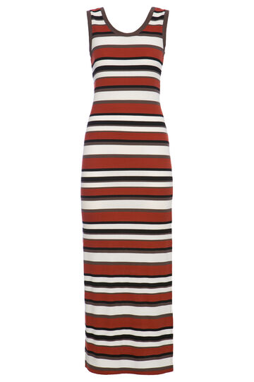 Smart Basic stretch striped dress, Black, hi-res