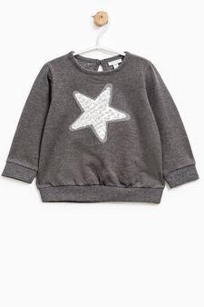 Stretch cotton hoodie with sequins, Dark Grey, hi-res