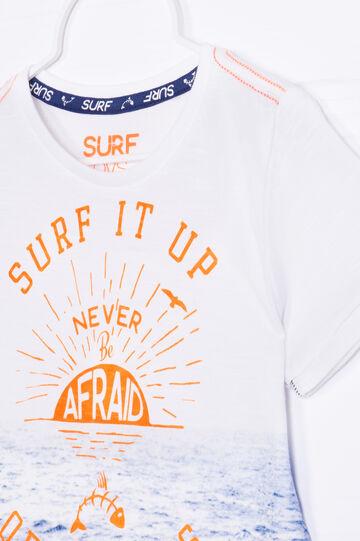 Maxi print 100% cotton T-shirt, White, hi-res