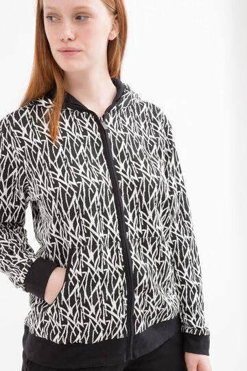 Curvy printed gym hoodie, Black, hi-res