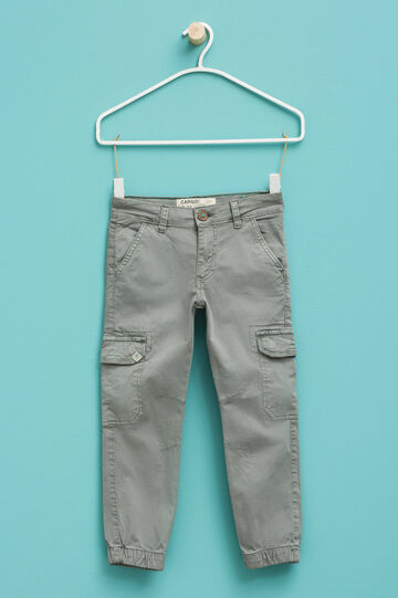 Stretch cargo trousers with patch, Grey, hi-res