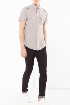 Camicia lino tinta unita, Marrone chiaro, hi-res