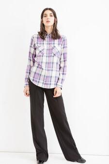 Checked cotton and viscose shirt, Lilac, hi-res