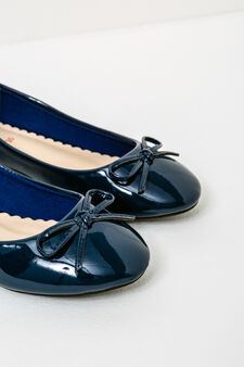 Patent ballerina pumps with bow, Navy Blue, hi-res