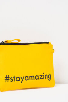 Glitter lettering print pencil case, Yellow, hi-res
