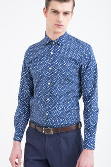 Rumford floral shirt in cotton, Blue/Light Blue, hi-res