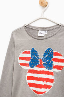 Minnie Mouse T-shirt with diamantés and studs, Grey, hi-res