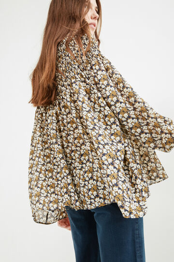 Shirt with all-over floral print, Green, hi-res