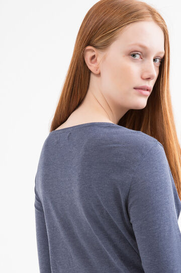 Curvy diamanté T-shirt in 100% cotton, Navy Blue, hi-res