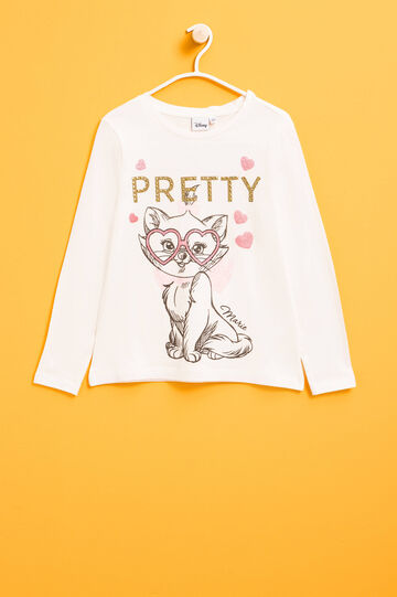 The Aristocats T-shirt with glitter and diamantés, White, hi-res