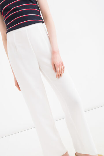 Solid colour high-waisted trousers, White, hi-res