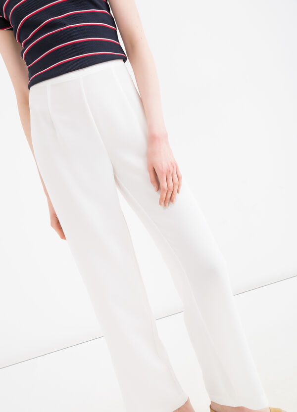 Solid colour high-waisted trousers | OVS