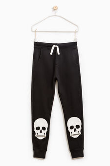 Joggers with skull print and zip, Black, hi-res