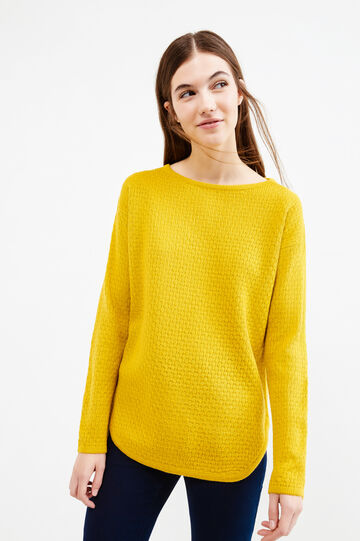 Pullover with boat neck and zip on back, Ochre Yellow, hi-res