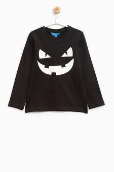 T-shirt stampata in puro cotone, Nero, hi-res